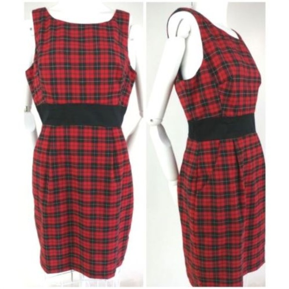 086c877e0e9 VTG 90s Tartan Plaid Sheath Wiggle Dress M L. M 5bb93cee04e33d452af61383